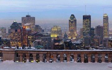 зима, панорама, город, небоскребы, высотки, монреаль