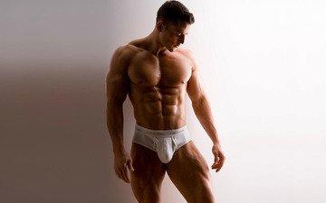 male, muscle, brutal, beautiful body, white panties