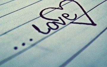 ручка, настроение, макро, надпись, бумага, лист, сердце, любовь, настроения, строчка, тетрадь, чувство, влюбленная