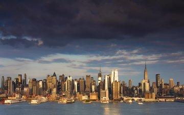 тучи, небоскребы, залив, сша, нью-йорк, здания, нью - йорк