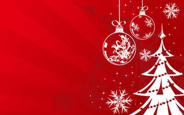 новый год, елка, шары, зима, снежинки, фон, цвет, красный
