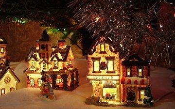 новый год, зима, домики, игрушки