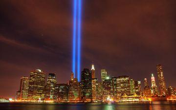 огни, небоскребы, мегаполис, нью-йорк