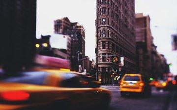 движение, улица, нью-йорк, такси