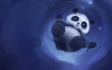 рисунок, панда, няшка
