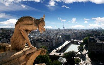 вид, дома, париж, скульптура