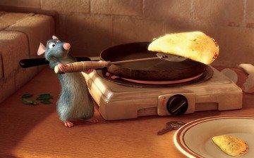 ratatouille, cartoon, pancakes, prepares