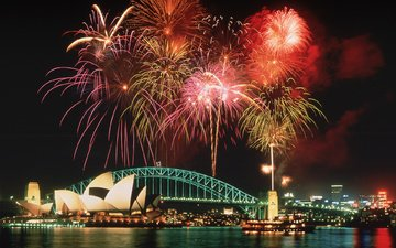 ночь, салют, мост, сидней, австралия, фейерверк