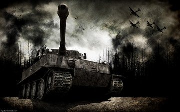 forest, war, aircraft, tank, fumes