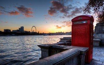 река, лондон, колесо обозрения, англия, телефонная будка