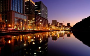 вода, вечер, япония, токио