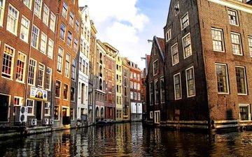канал, дома, нидерланды, амстердам, голубое небо