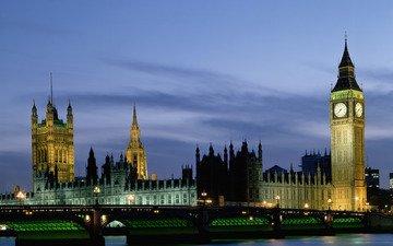 река, мост, лондон, англия, биг бен, big-ben, парламент