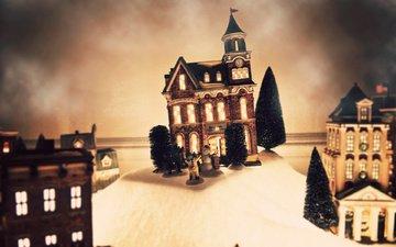 новый год, елка, игрушка, снеговик, елки, домик, праздник, макет
