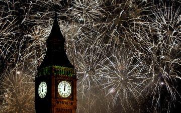 новый год, лондон, фейерверк, биг бен