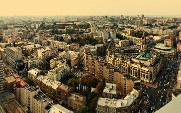 фото, панорама, город, высота, дома, здания, улицы, киев