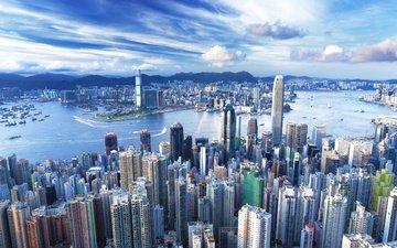 небоскребы, мегаполис, гонконг, деловой центр