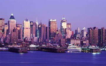 огни, панорама, город, синий фон