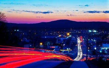 дорога, вечер, горы, закат, город, выдержка, шоссе