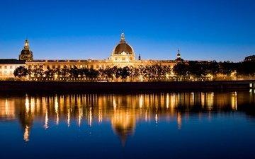 вода, вечер, город, ночной город, отражение в воде, красивый вид