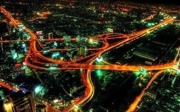дорога, огни, вид, ночной город, развязка
