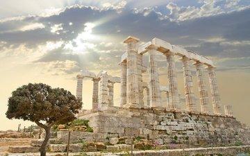 дерево, развалины, архитектура, греция, колонны