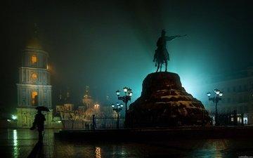 ночь, дождь, памятник, площадь, украина, киев, хмельницкому
