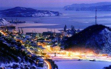 ночь, огни, зима, камчатка, россия
