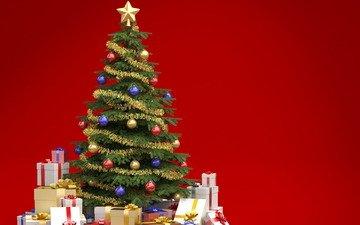 новый год, елка, украшения, зима, подарки