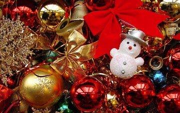 новый год, зима, снеговик, игрушки, рождество