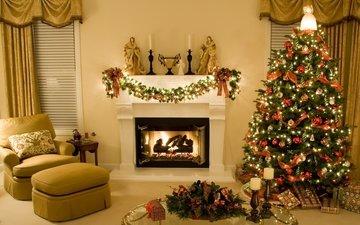 свечи, новый год, елка, зима, комната, камин, рождество, гирлянда
