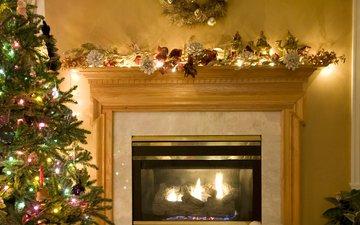 новый год, елка, зима, камин, рождество, гирлянда, уют