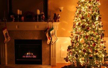 новый год, елка, зима, комната, камин, рождество, гирлянда, полумрак
