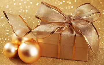 новый год, зима, блеск, подарок, золотой
