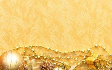 новый год, зима, золотой фон