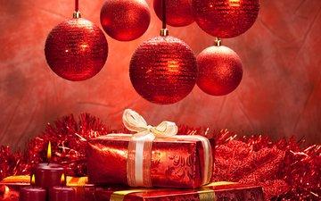 новый год, шары, зима, подарки, красный, елочные игрушки, елочные украшения, новогодние игрушки, новогодний шар