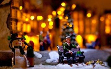 новый год, зима, снеговик, фигурки, огоньки, гирлянда