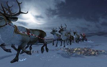новый год, зима, олени, санта клаус, новогодние олени