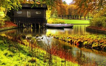 деревья, природа, осень, лодки, домик, небольшая речка