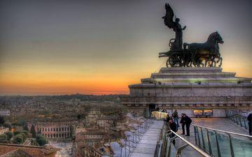 закат, панорама, италия, памятник, рим