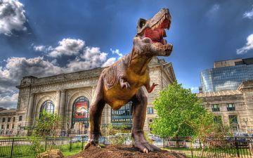 динозавр, здание, скульптура