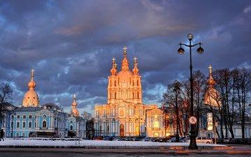 зима, фонарь, санкт-петербург, смольный собор