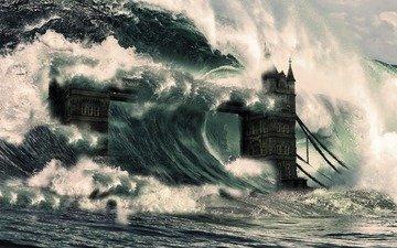 лондон, англия, катастрофа, тауэрский мост, цунами