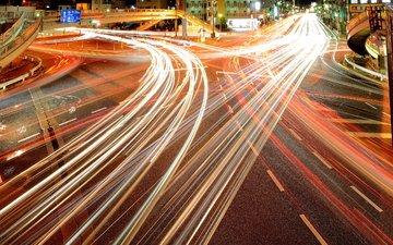фонари, огни, дома, ночной город, токио, автострада
