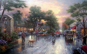 рисунок, люди, город, собака, городской пейзаж