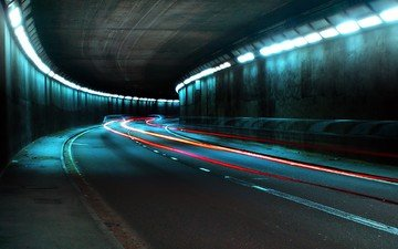 дорога, огни, туннель, выдержка, фары