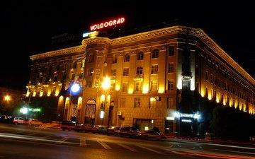 ночной город, россия, волгоград