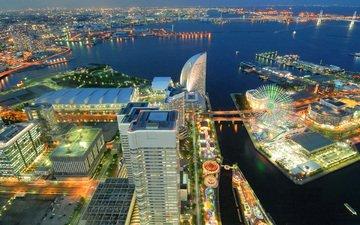 ночь, огни, море, город, япония, порт