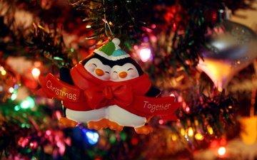 огни, новый год, елка, настроение, игрушки, праздник, гирлянда, пингвины