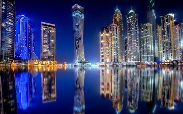 ночь, вода, небоскребы, ночной город, отражение в воде
